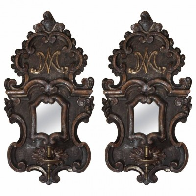 Pair of Silver Gilt Mirrored Single Arm Wall Sconces