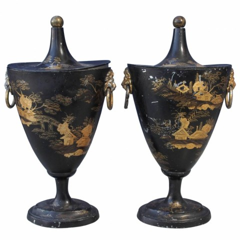 Pair of Early 19th Century Tole Piente Chestnut Urns with Chinoiserie Decoration