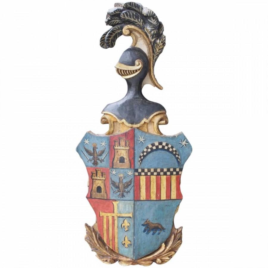 Italian 18th Century Carved Gilt and Polychrome Amorial