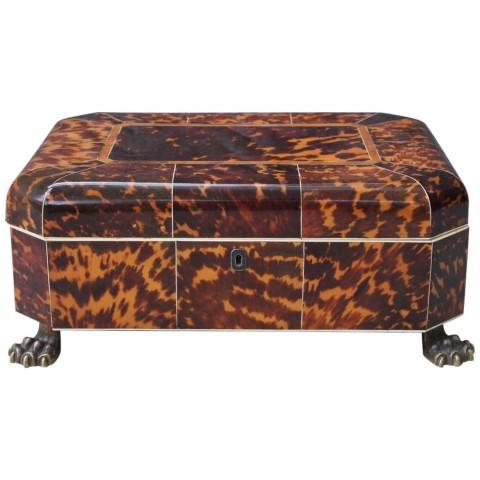 Late English Regency Tortoiseshell Sewing Box