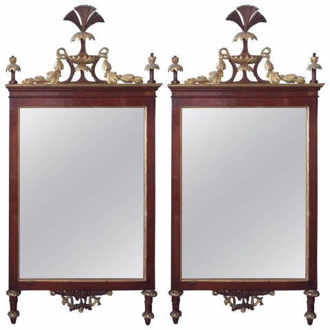 Pair of Italian Faux Bois and Gilt Neoclassical Mirrors
