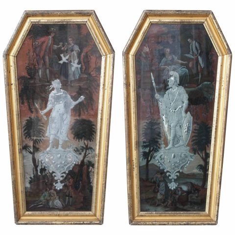 Pair of Coffin Shaped Cut and Églomisé Painted Glass Panels