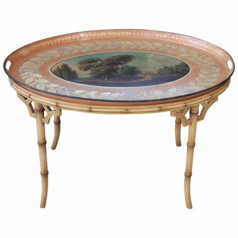 English Regency Tole Tray on Later Faux Bamboo Stand
