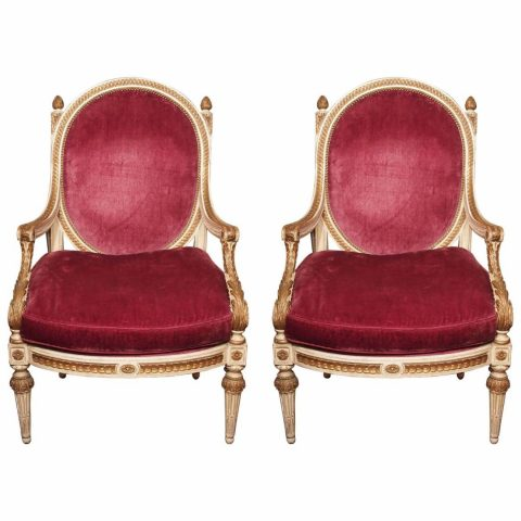 Pair of Italian Louis XVI Style Painted and Parcel-Gilt Oval Back Armchairs