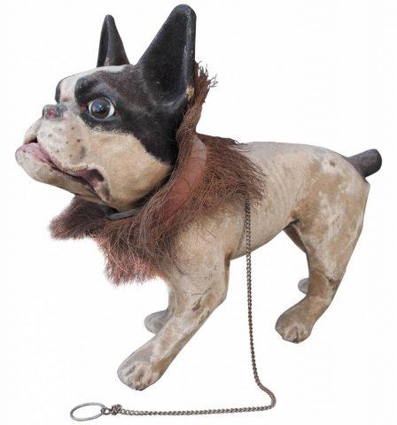"Papier Mâché ""Growler"" French Bulldog Pull Toy"