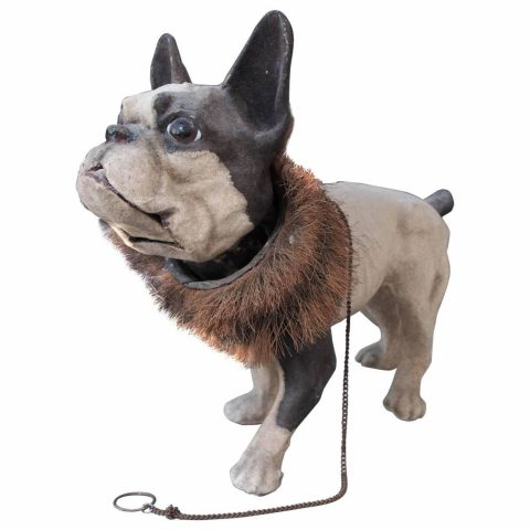 "French Papier Mache ""Growler"" French Bulldog Pull Toy"