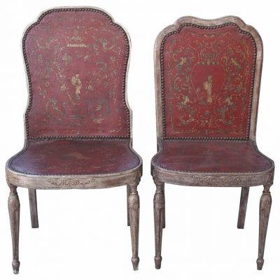 Two Sets of Four Silver Gilt Chairs with Chinoisorie Leather Seats and Backs