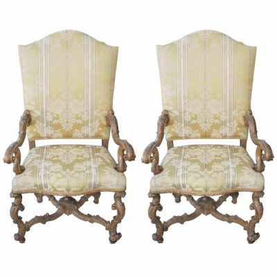 Pair of Italian Baroque Gilt Armchairs