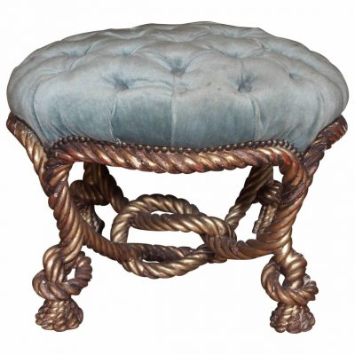"French Napoleon III Carved Giltwood ""Rope"" Stool"