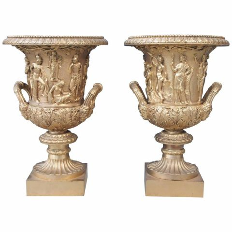 Pair of Gilt Bronze Grand Tour Campagna Borghese Urns