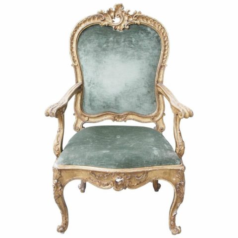 Giltwood Continental Rococo Armchair