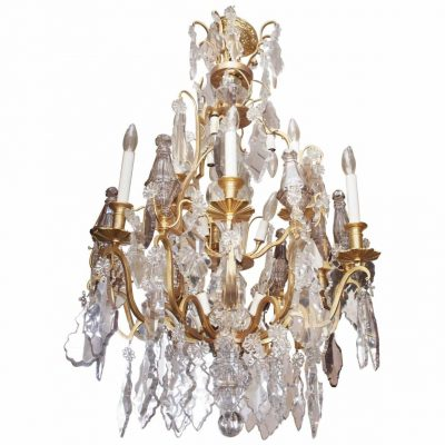 19th Century French Gilt Bronze Chandelier with Baccarat Crystal Dressing