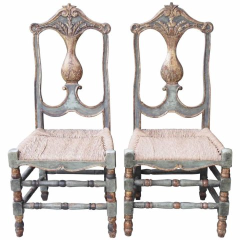 Set of Ten Late 18th-Early 19th Century Painted and Parcel Gilt Dining Chairs