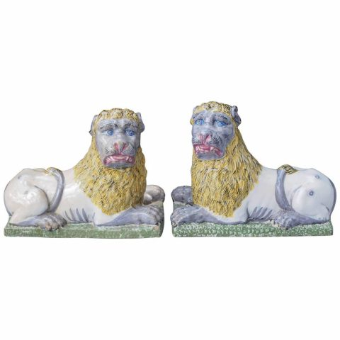 Pair of Late 18th-Early 19th Century Luneville Lions