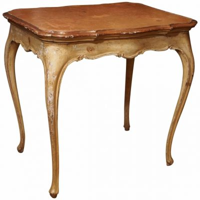 Italian Painted Occasional Table with Leather Top