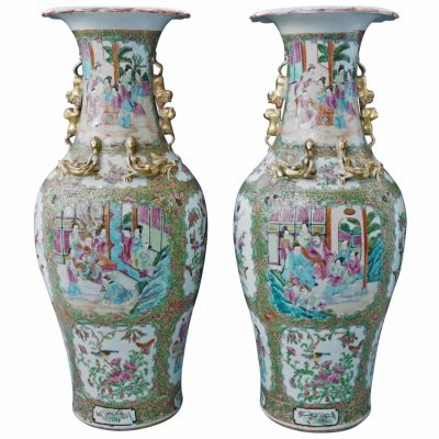 Large Pair of Famille Rose Vases with Foo Dog Handles