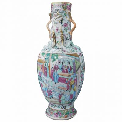 Chinese Famille Rose Pattern Vase with Snake Handles