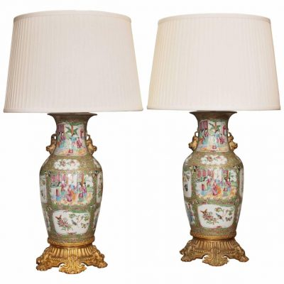 Pair of Chinese Famille Rose Vase with Gilt Bronze Mounts Now as Lamps