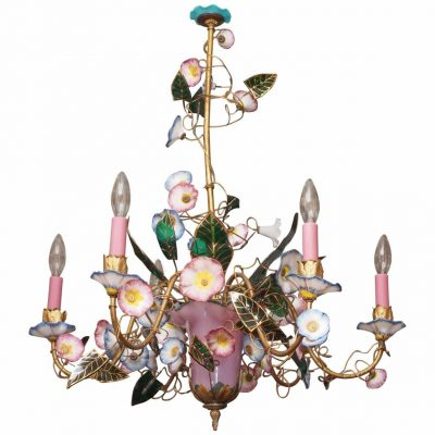 French Napoleon III Opaline Glass Chandelier