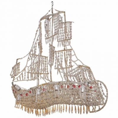Italian Crystal Chandelier on Wire Frame in the Form of a Ship