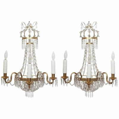 Pair of Italian Empire Style Brass and Crystal Wall Sconces