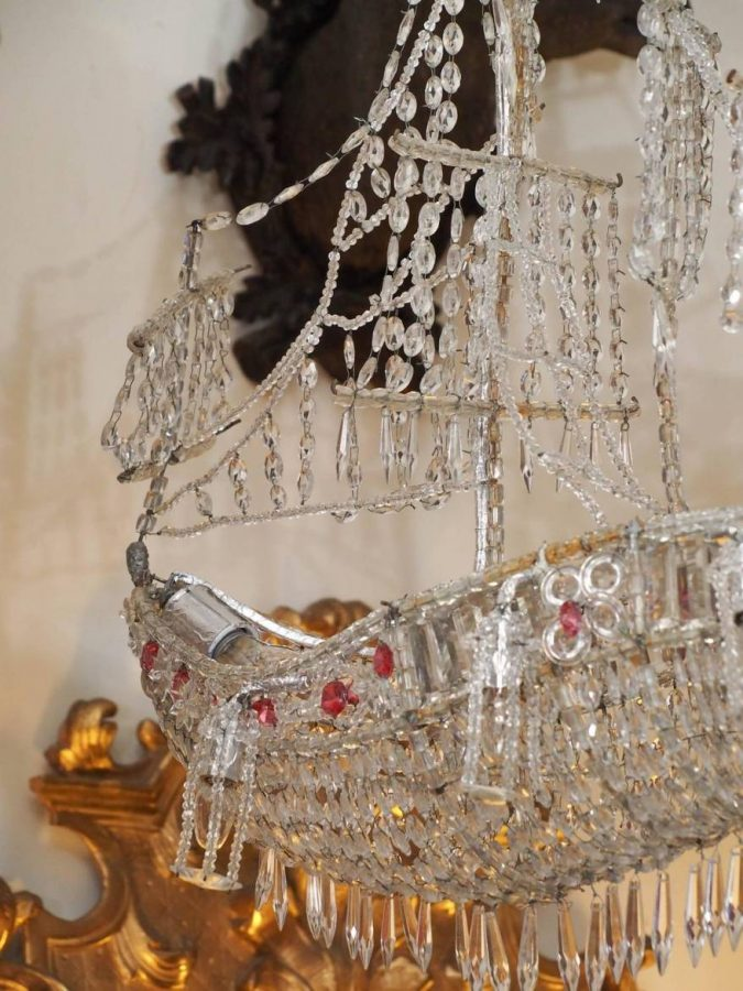 Italian Crystal Chandelier On Wire Frame In The Form Of A Ship Kevin Stone Antiques Amp Interiors