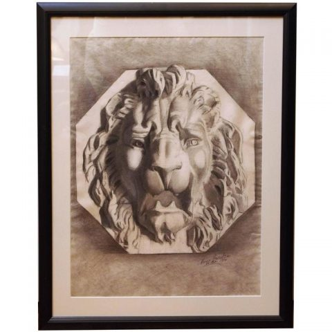 French Academy Drawing of a Lions Head