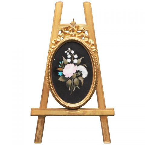 Italian Pietra Dura Plaque with Gilt Bronze Frame