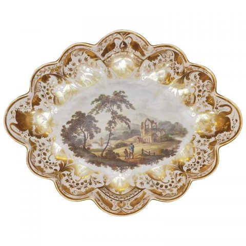 Derby Scalloped Dish with Pastoral Scene and Gilt Decoration