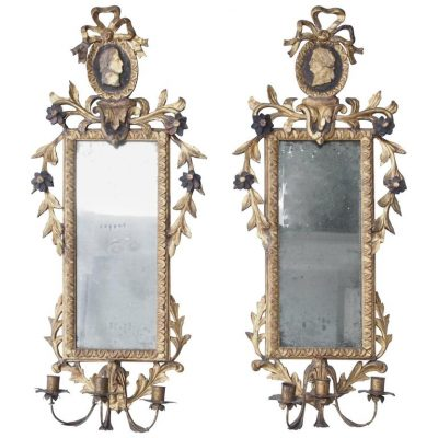 Pair of Italian Louis XVI Giltwood Mirrored Appliqués