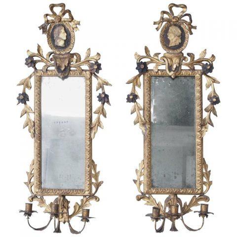 Pair of Italian Louis XVI Giltwood Mirrored Appliqués