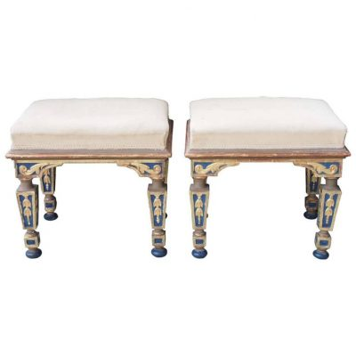Pair of 19th Century Gilt and Polychrome Benches