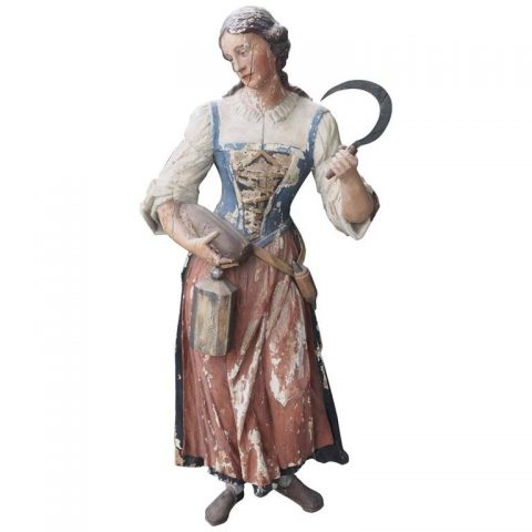 19th Century Polychromed Carved Wood Statue of Woman