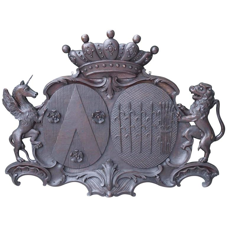 Carved Wood Amorial Crest with Lion, Crown and Unicorn