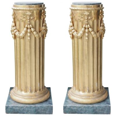 Pair of Exceptional Gilt Italian Louis XVI Columns with Faux Marble Bases
