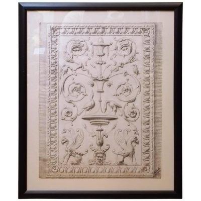 Drawing of a Classical Bas Relief Panel in Later Frame