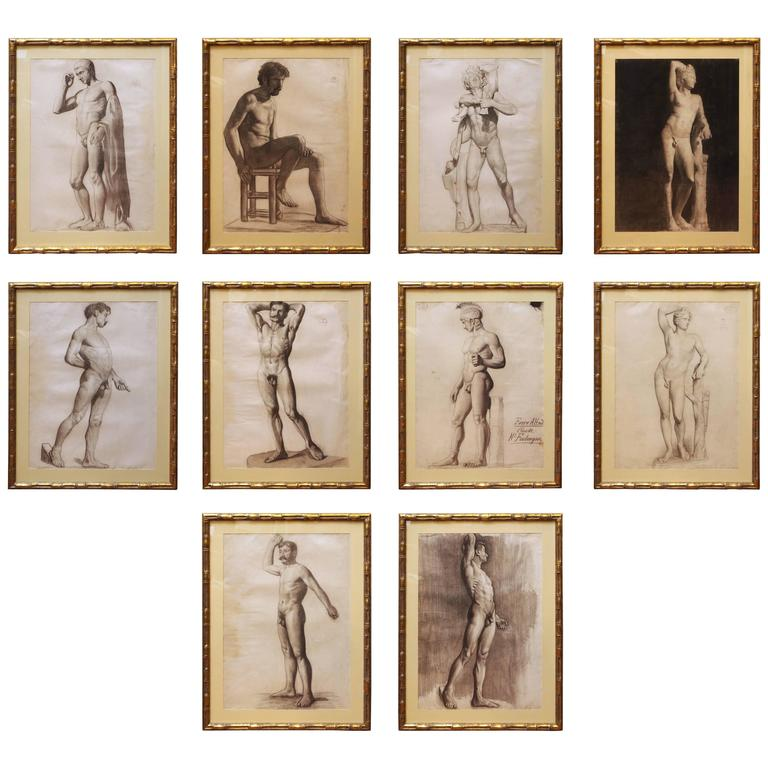 Set of Ten French Academy Drawings of Male Nudes