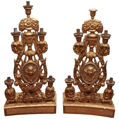 Pair of Italian Giltwood Altar Candlesticks
