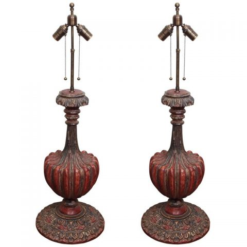 Pair of Carved Wood Vasiform Standards Now Wired as Lamps