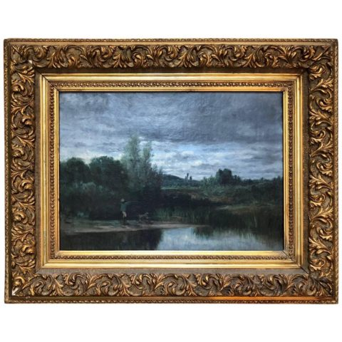 French Barbizon School Oil on Canvas