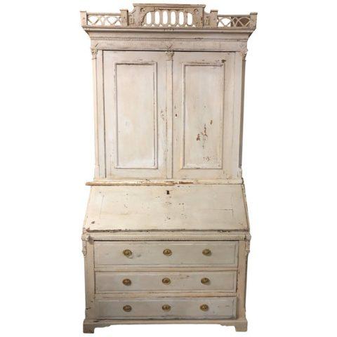 Swedish Louis XVI Painted Bookcase Secretary
