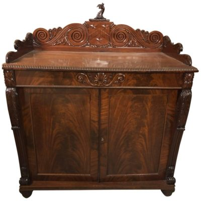 English George IV Mahogany Armorial Crested Cabinet
