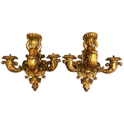 Pair of 19th Century Carved Wood Wall Sconces