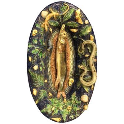Palissy Style Platter with Fish and Snakes
