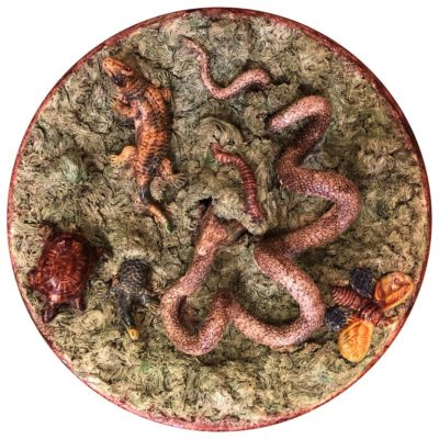 Palissy Style Plate with Snake Eating His Own Tail