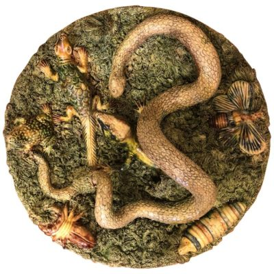 Palissy Style Plate with Snakes