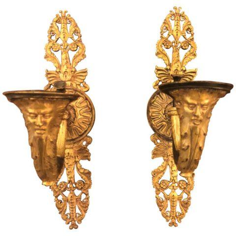 Pair of French Empire Gilt Bronze Sconces