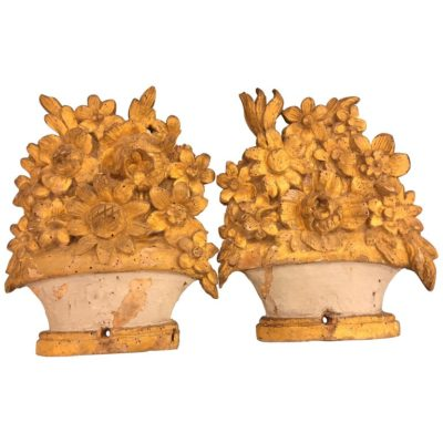 Pair of Provençal Flower Basket Carvings