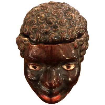 French Majolica Tobacco Jar in Form of a African Head