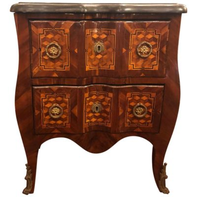 French Marquetry Sauteuse with Marble Top